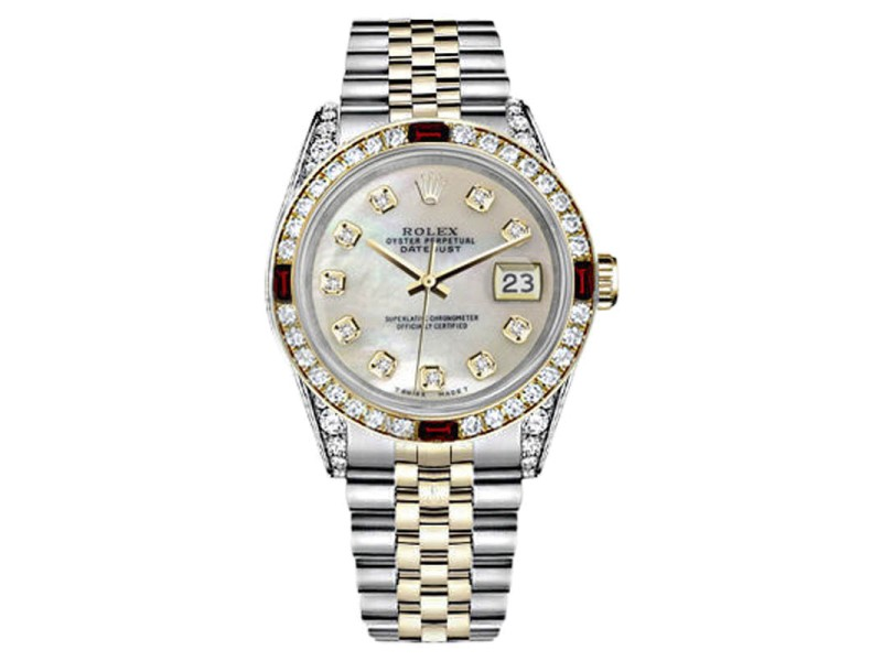Rolex Datejust Steel & Gold White Mother of Pearl Ruby Diamond Jubilee Womens 26mm Watch