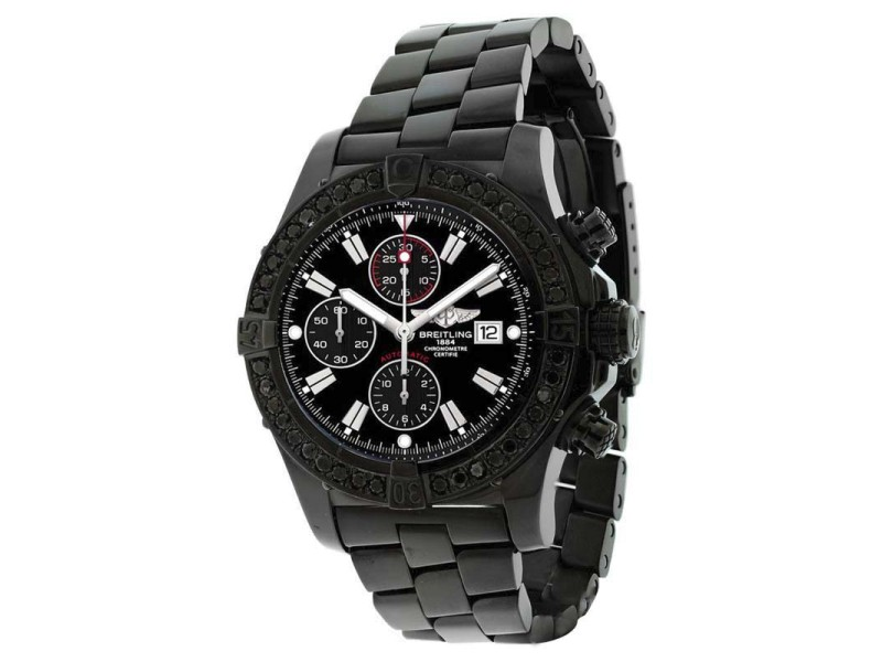 Breitling Super Avenger A13370 Stainless Steel Black Diamond Bezel 48.4mm Mens Watch