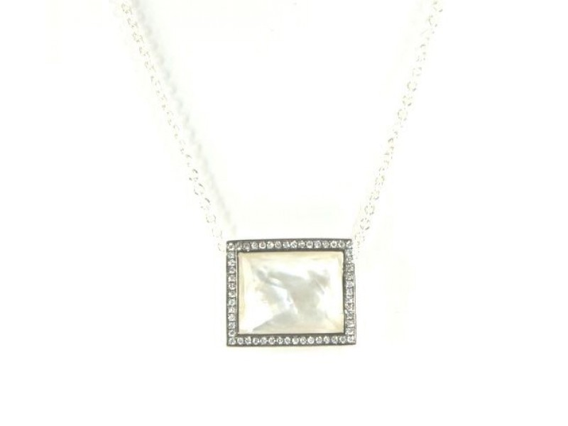 IPPOLITA Mother of Pearl Diamond Necklace Sterling Silver Rectangle Pendant