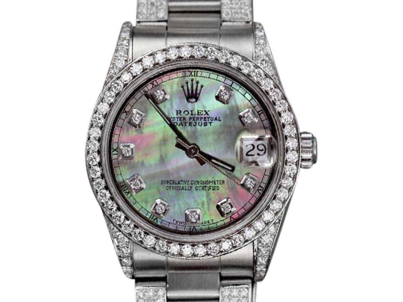 Rolex Oyster Perpetual Datejust Stainless Steel Black Mother of Pearl Color Dial 31mm Womens Watch