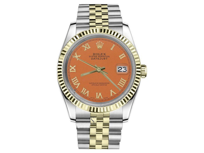 Rolex Datejust 2Tone Orange Color Roman Numeral Dial Automatic 26mm Womens Watch