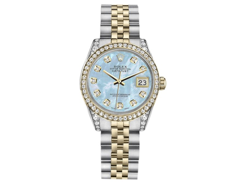 Rolex Datejust Stainless Steel/ 18K Gold Baby Blue Mother Of Pearl Diamond Jubilee 31mm Womens Watch