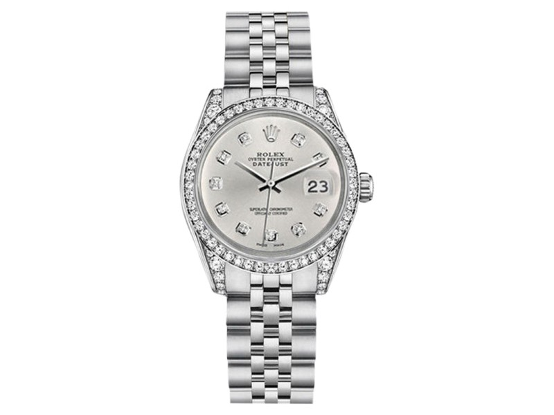 Rolex Datejust Stainless Steel Silver Color Diamond Dial 36mm Womens Watch