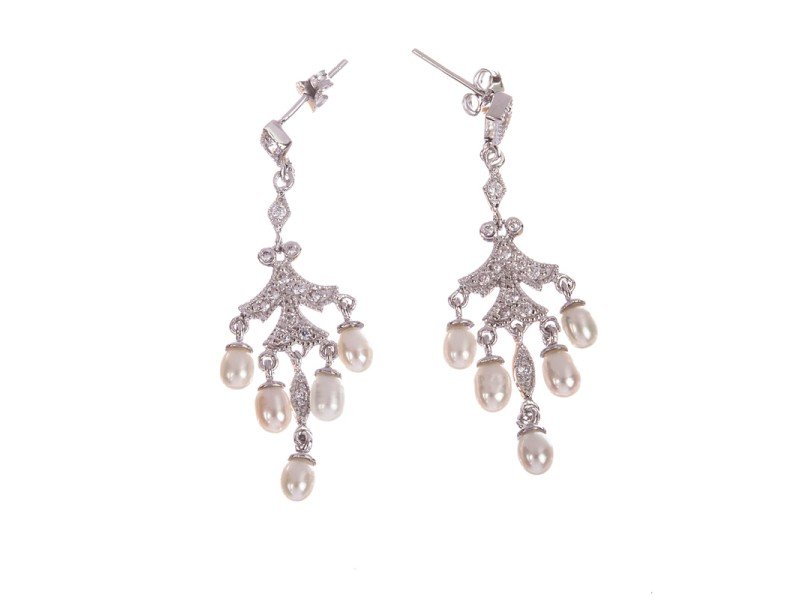 Sterling Silver Cubic Zirconia and Pearl Chandelier Earrings