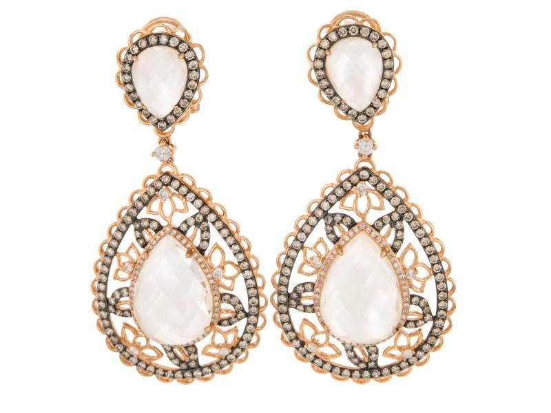 18K Rose Gold Black Rhodium White Topaz Crystal Champagne Diamond Teardrop Earrings