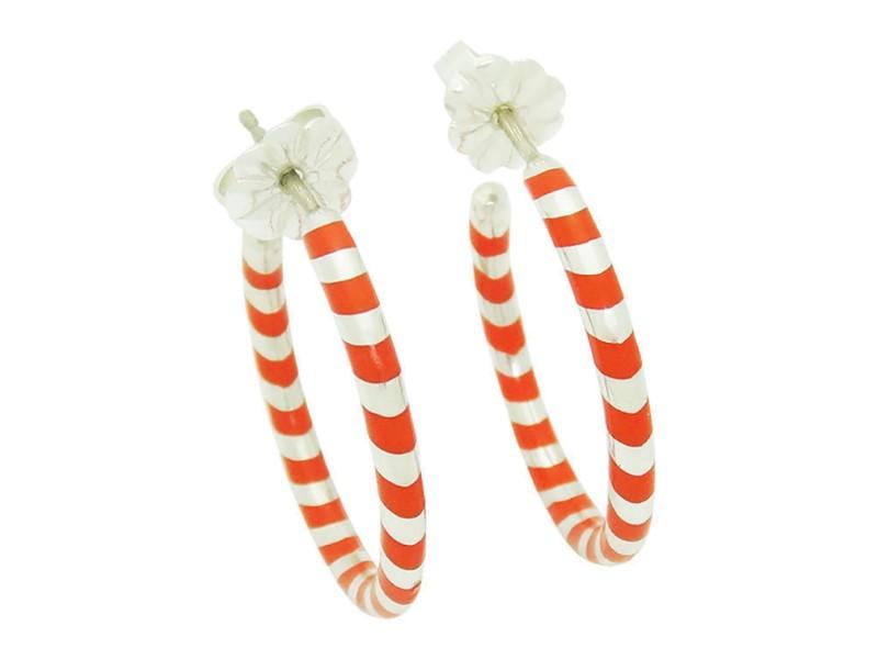Tiffany & Co. 925 Sterling Silver Palina Red Swirl Hoop Earrings
