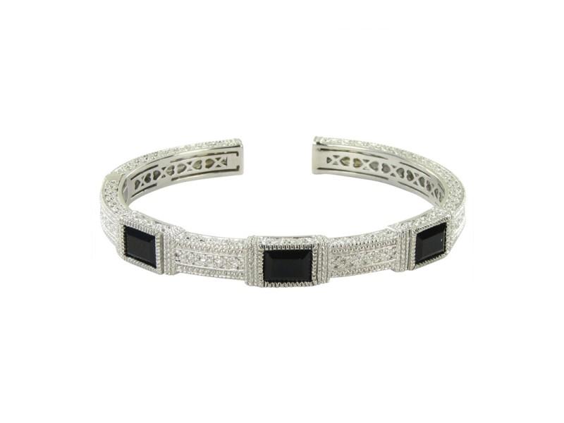 Judith Ripka 925 Sterling Silver Onyx Sapphires Bracelet