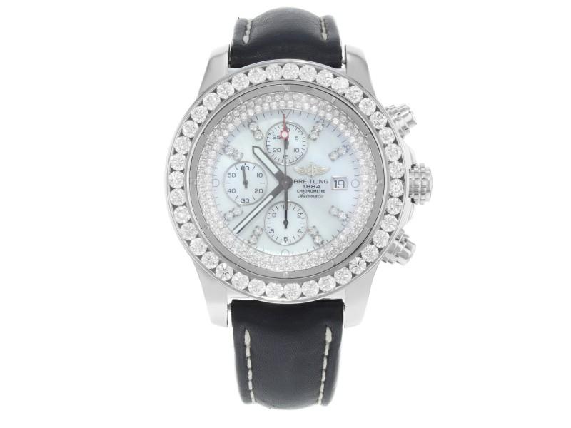 Breitling Super Avenger A13370 Stainless Steel Custom Diamond Dial and Bezel 48.4mm Watch
