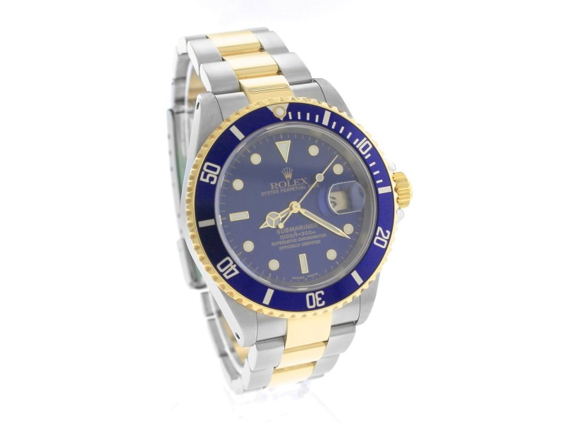 Rolex submariner 16613 two tone stainless blue date dive - 40mm dive watch ...