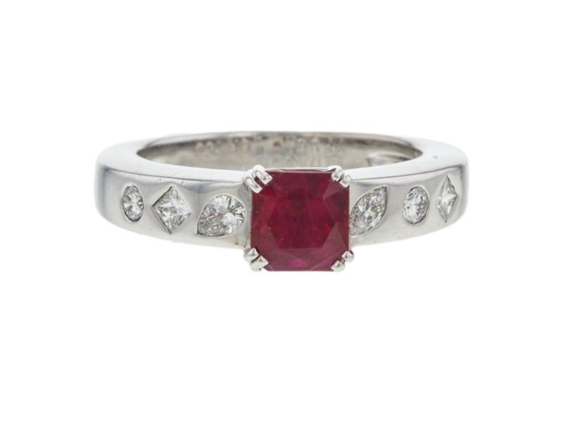 Chanel 18K White Gold Ruby Diamond Ring Size 7