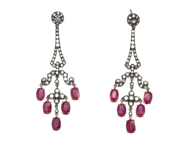 18K Gold Diamond Natural Red Ruby Drop Black Rhodium Earrings