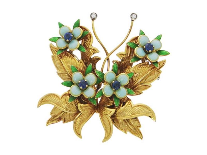 Tiffany & Co. 18K Sapphire Diamond Enamel Butterfly Brooch Pin