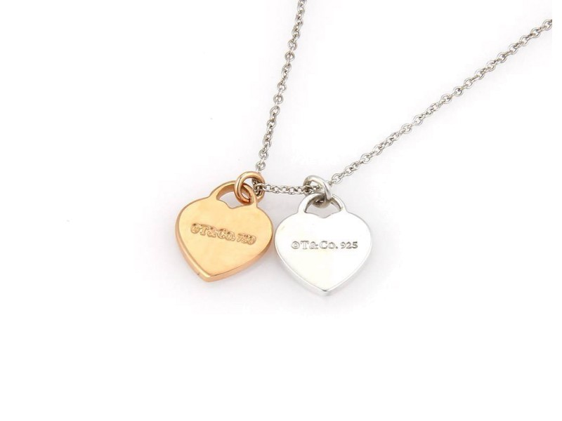 Tiffany & Co. Sterling Silver and 18K Rose Gold Please Return Double Heart Necklace
