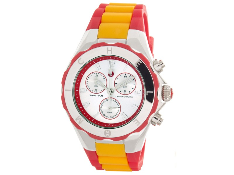 Michele Jelly Bean MWW12F000067 Tahitian Silver Dial Red & Orange Womens Watch