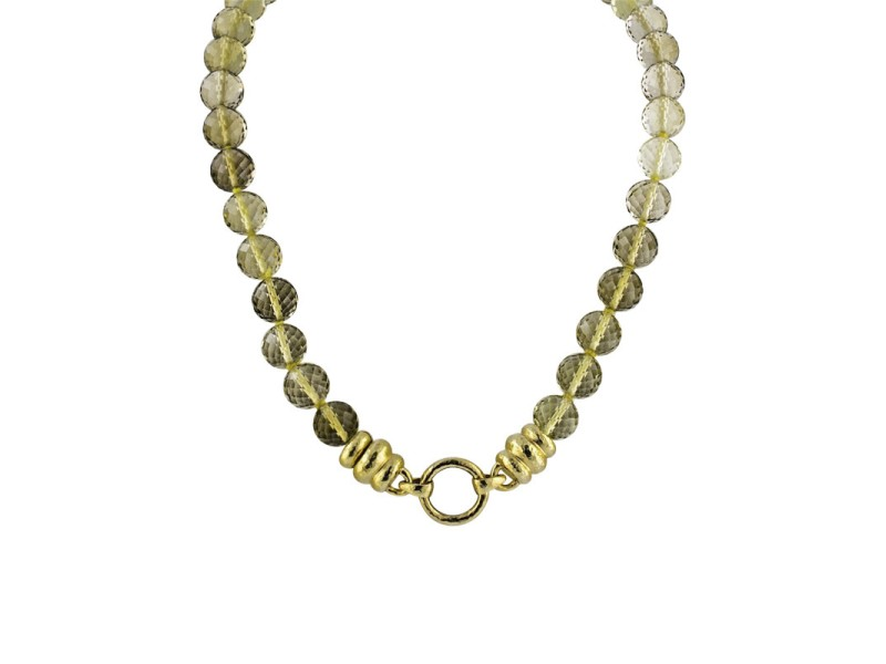"Elizabeth Locke 19K Yellow Gold Faceted Citrine Bead Necklace 16"""