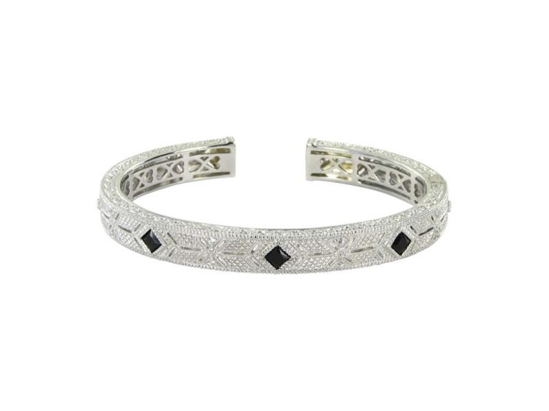 Judith Ripka 925 Sterling Silver Black Onyx White Sapphires Bracelet