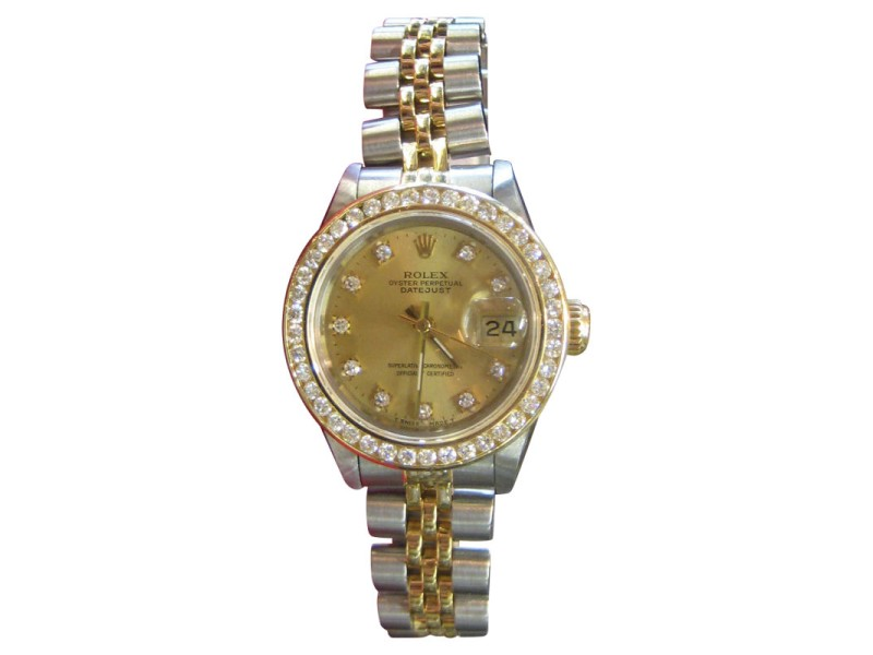 Rolex Oyster Perpetual Datejust Stainless Steel and 18K Yellow Gold Diamond Dial and Bezel 25mm Watch