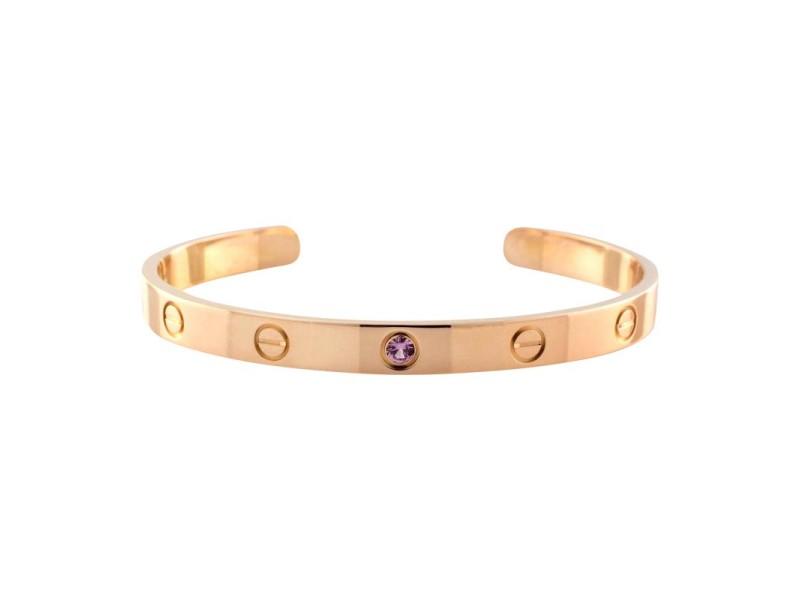 Cartier Love 18K Rose Gold Pink Sapphire Cuff Bracelet Size 18