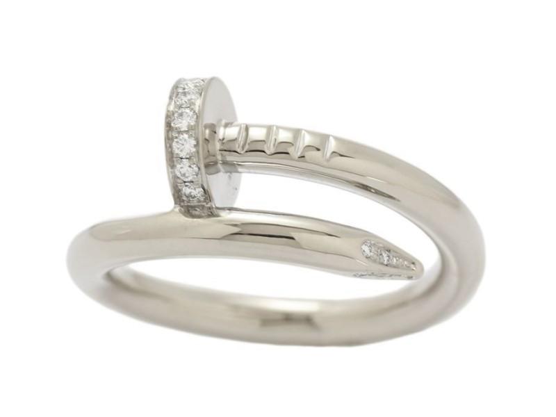 Cartier Juste Un Clou 18k White Gold Diamond Ring Size 6.75