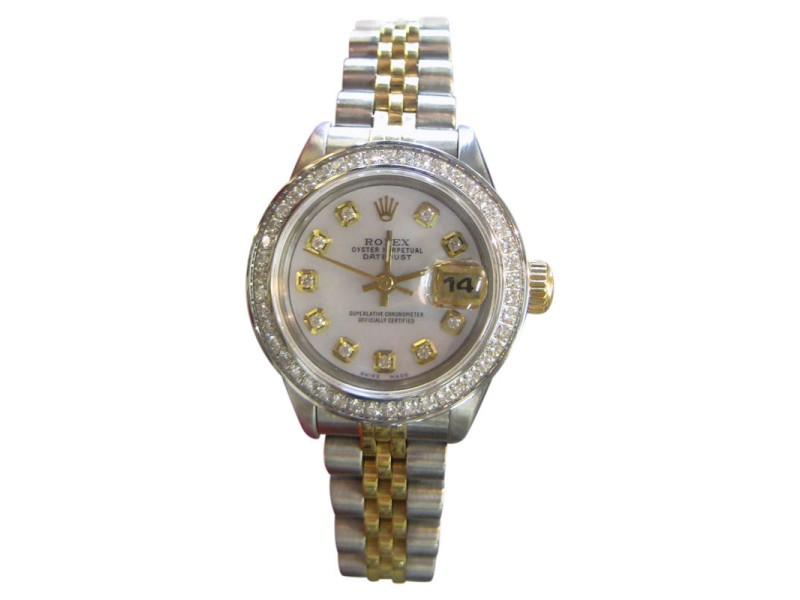 Rolex Oyster Perpetual Datejust Stainless Steel Diamonds Mother of Pearl Dial 25mm Womens Watch