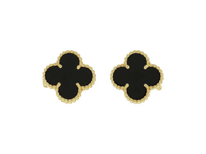 Van Cleef & Arpels 18K Yellow Gold Black Onyx Alhambra Earrings