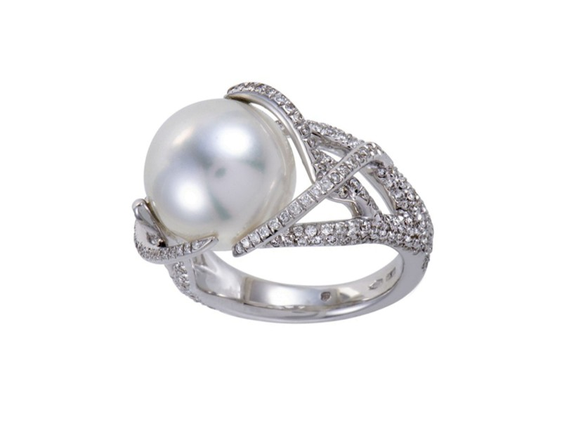 Mikimoto 18K White Gold with Diamond & Pearl Ring Size 7.5