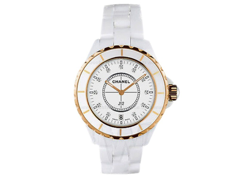 Chanel J12 Quartz H2181 White Ceramic Diamond Gold Tone Watch