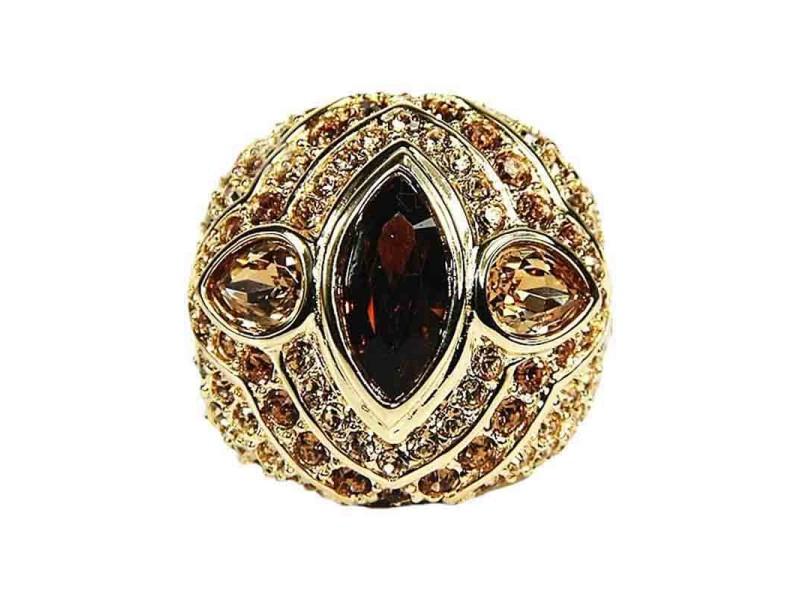 Judith Leiber Gold Tone and Swarovski Crystals Ring