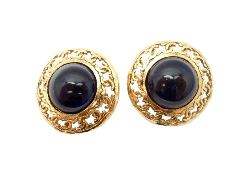 Chanel Vintage French Couture Gold Tone Blue Glass Clip On Earrings