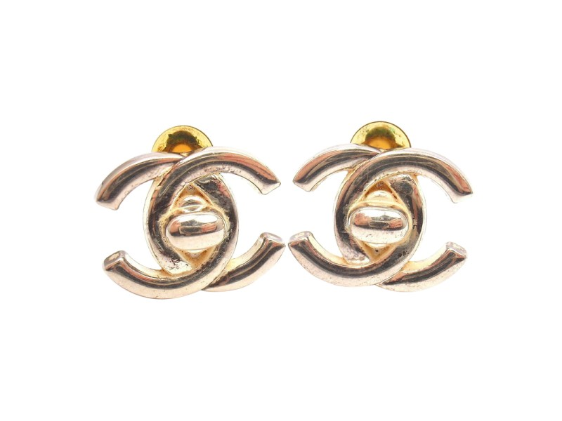 Chanel Vintage Large Silver Tone Clip On Double C Signature Lock Earrings