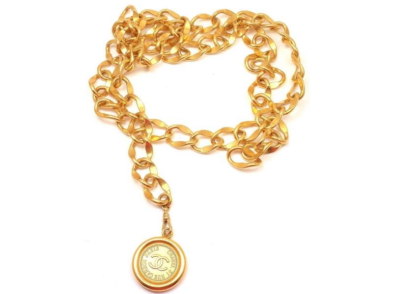 Vintage Chanel CC Disc Logo Belt Necklace