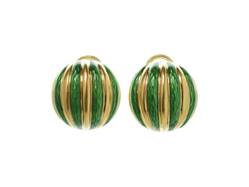 Tiffany & Co. 18k Yellow Gold Striped Green Enamel Clip-on Earrings