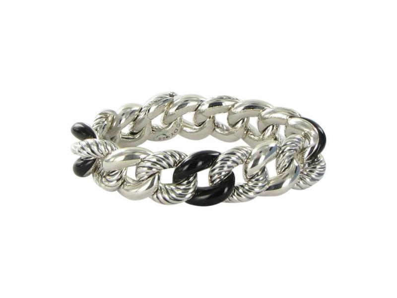 David Yurman Belmont Sterling Silver Onyx Curb Link Bracelet