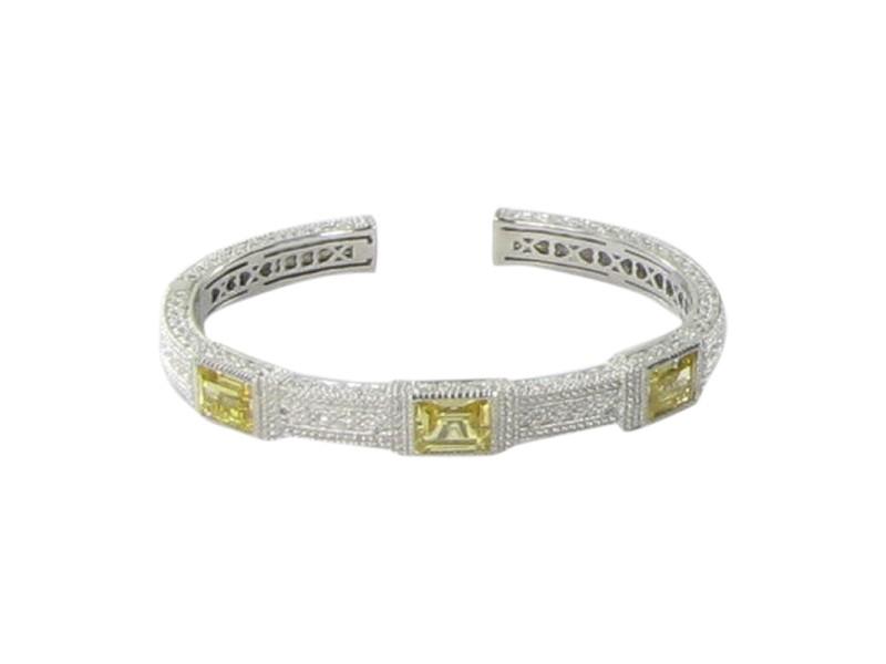 Judith Ripka 925 Sterling Silver Canary Crystal White Sapphires Bracelet