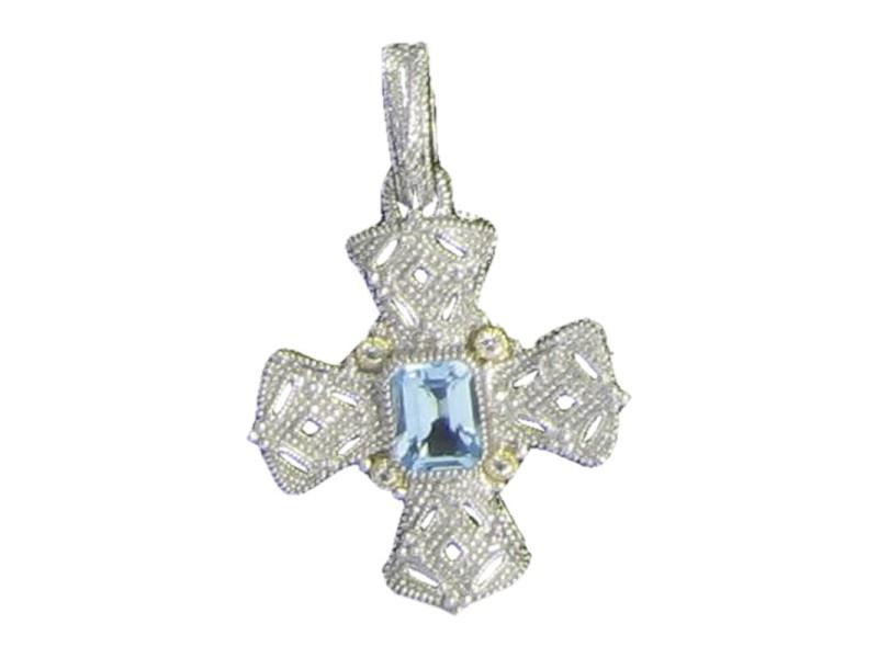 Judith Ripka Sterling Silver 18K Yellow Gold Blue Topaz Maltese Cross Pendant