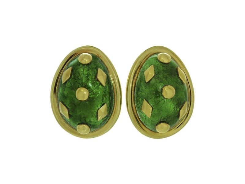 Tiffany & Co. Schlumberger Dot Losange 18K Yellow Gold & Green Enamel Clip-on Earrings