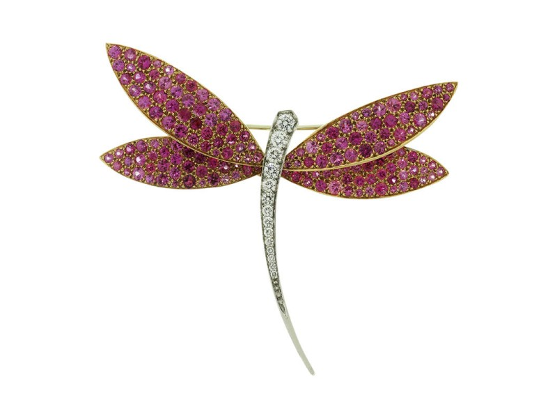 Van Cleef & Arpels 18K Yellow and White Gold Diamond Pink Sapphire Dragonfly Brooch