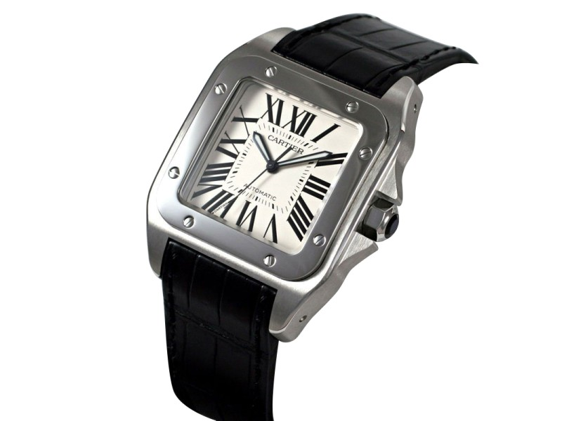 Cartier Santos 100 W20073X8 41.3mm x 51.1mm Stainless Steel Black Crocodile Watch