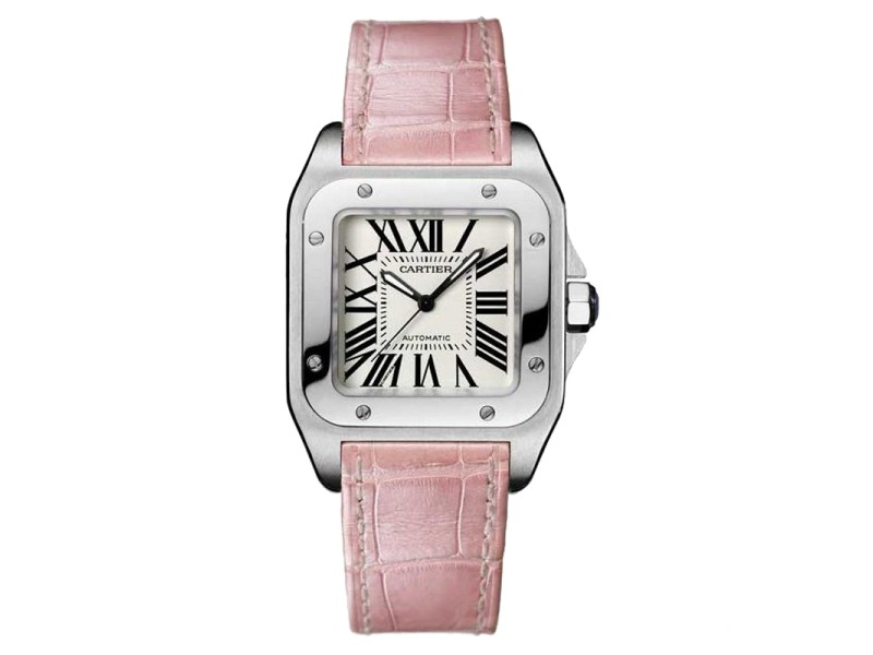 Cartier Santos 100 W20126X8 Stainless Steel Pink Leather Watch