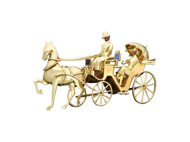 Maubo Paris Sapphire Ruby 18K Gold Horse Carriage Couple Brooch