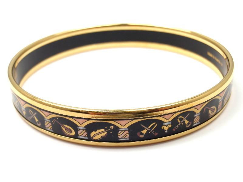 Hermes Cloisonne Black and Gold Tone Metal Enamel Bangle Bracelet