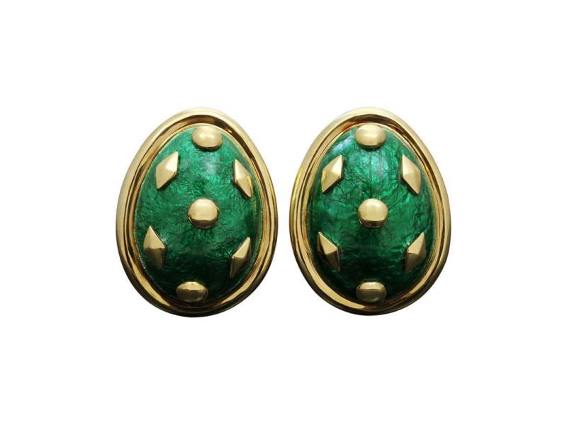 Tiffany & Co. 18K Yellow Gold & Green Enamel Schlumberger Dot Losange Clip-On Earrings
