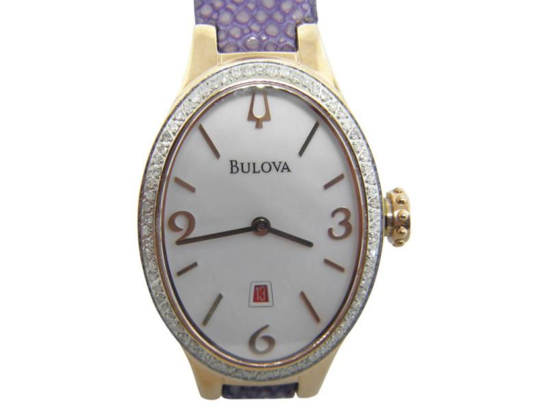 Bulova Winslow 98R198 Stainless Steel & Diamond Bezel 25mm Womens