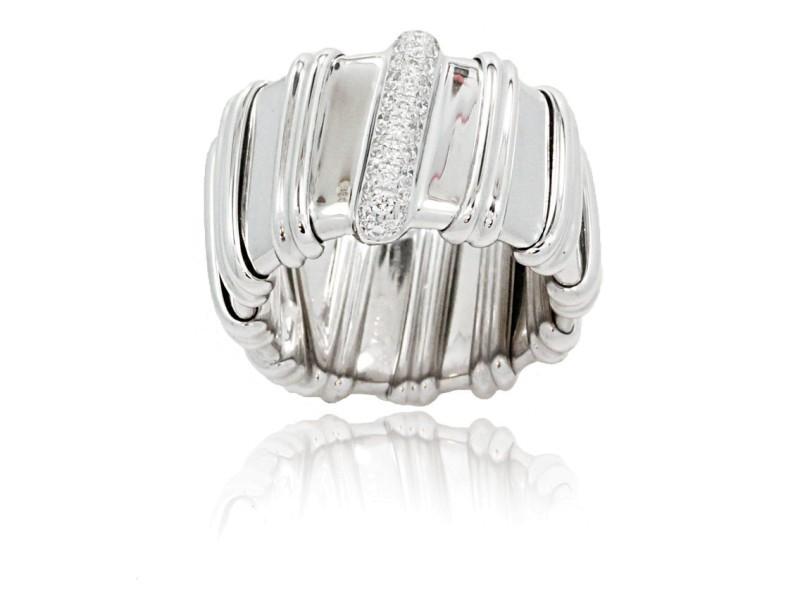 Roberto Coin 18K White Gold Diamonds Nabucco Ring Size 6.5