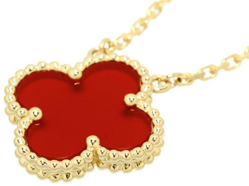 Van Cleef & Arpels Alhambra 18K Yellow Gold Carnelian Pendant Necklace