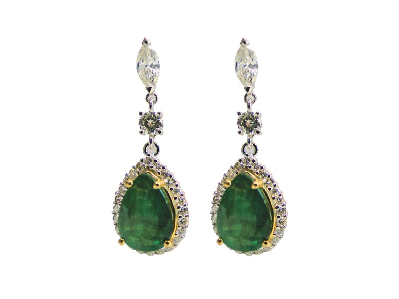 18K White and Yellow Gold 2.24 Ct Diamond and 6.36 Ct Emerald Earrings