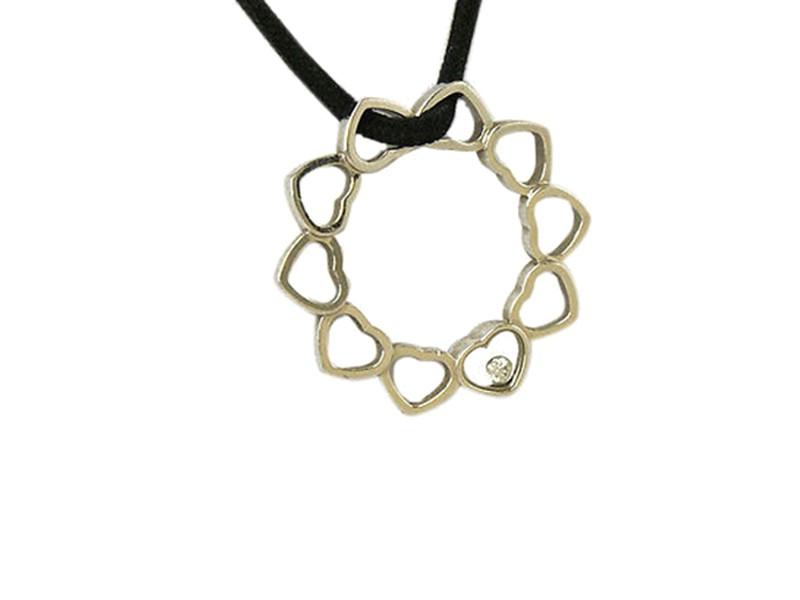 Chopard Happy Diamond Ladies Heart Circle Pendant w Black Cord