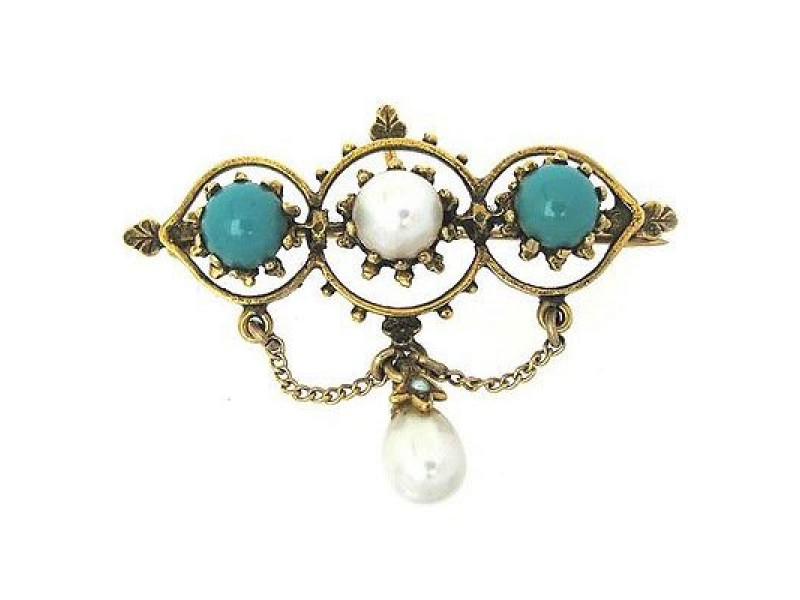 Art Deco 14K Yellow Gold Pearl & Turquoise Brooch