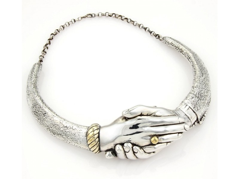 Yaacov Heller Sterling Silver Handshake Choker Necklace