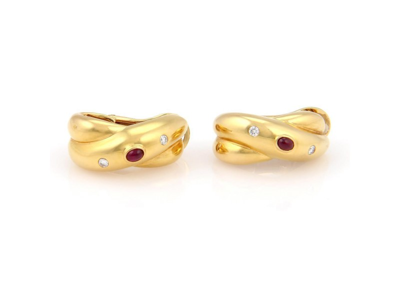 Cartier Diamonds & Rubies 18K Yellow Gold Crossover Hoop Earrings